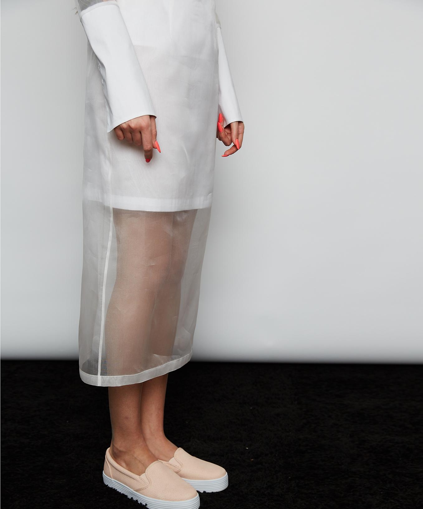 Прямая юбка из органзы