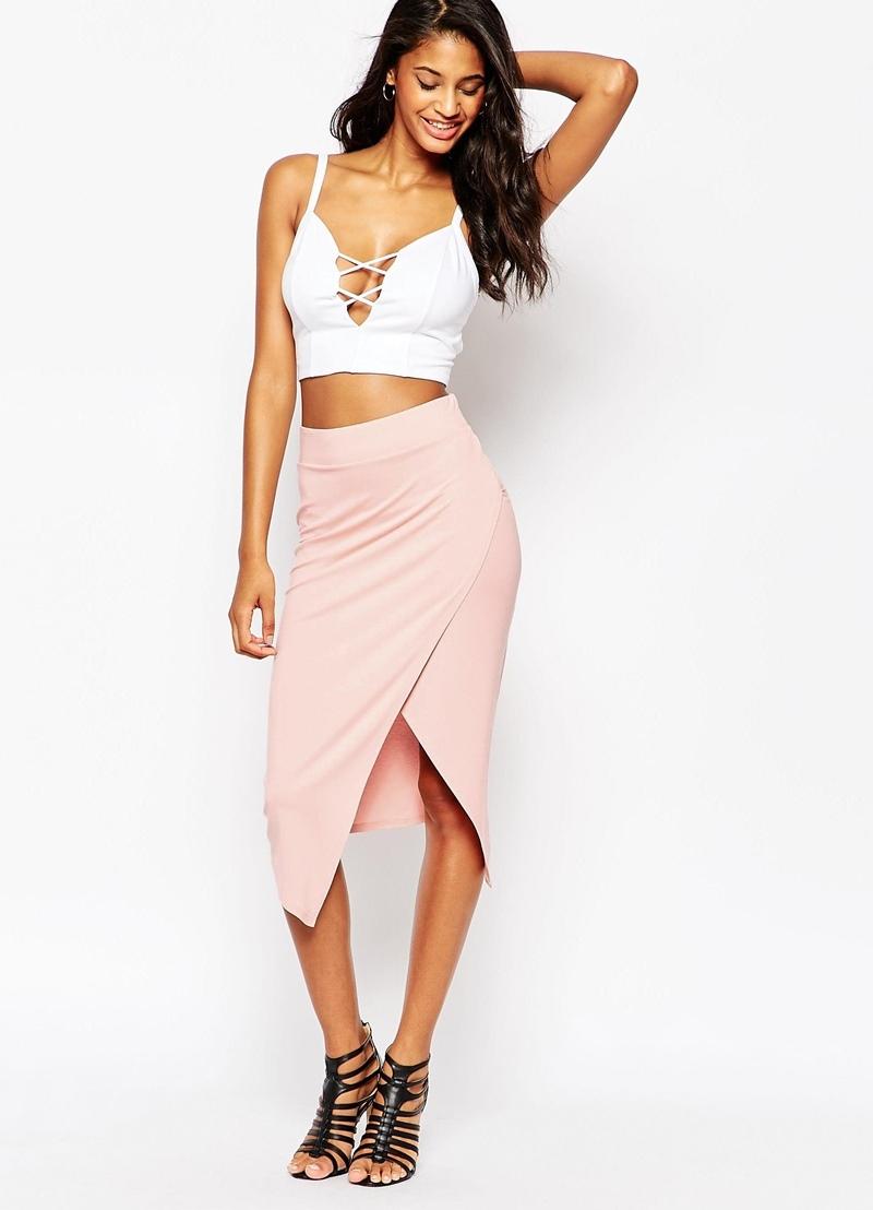 Розовая асимметричная юбка