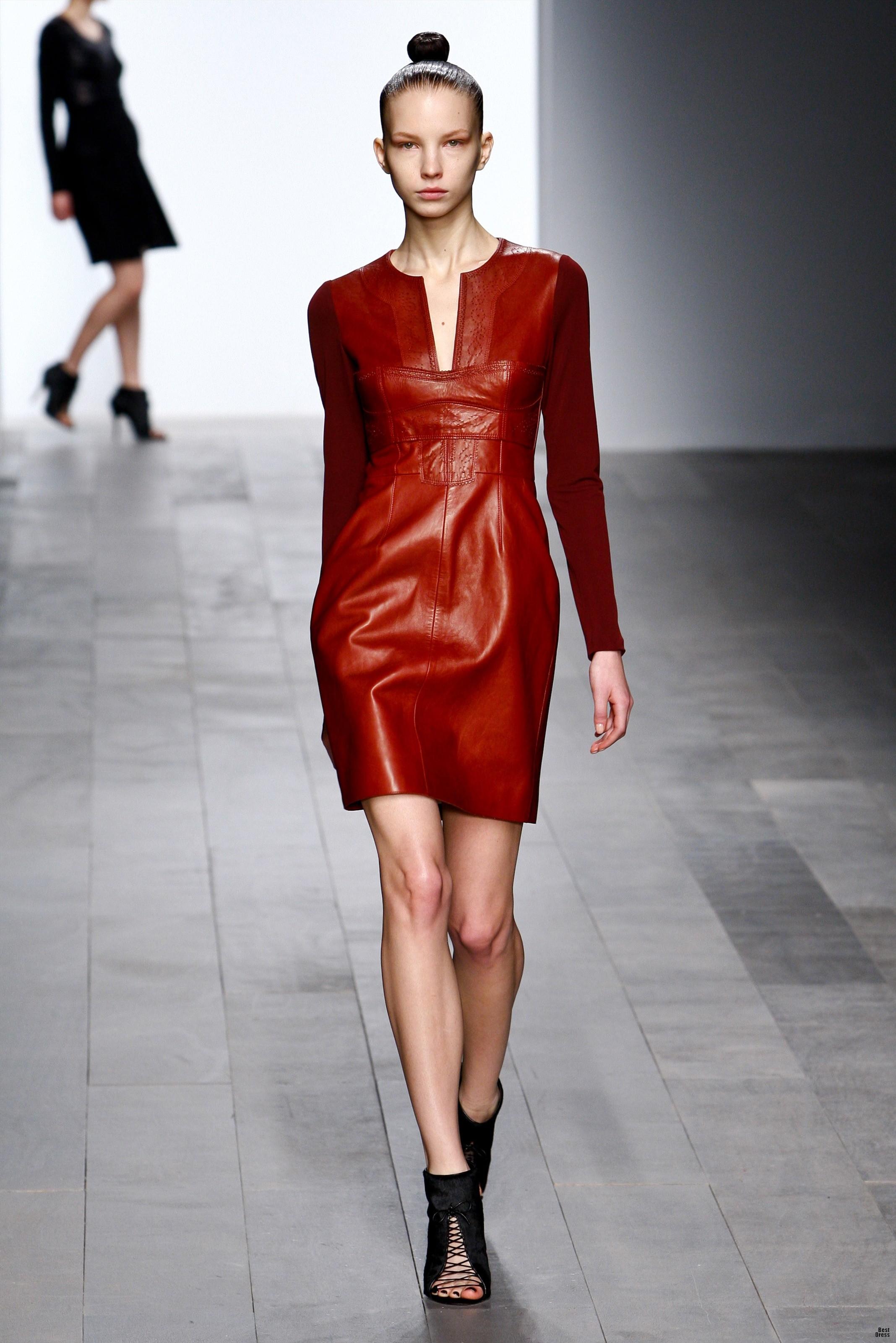 Кожаное платье с рукавом