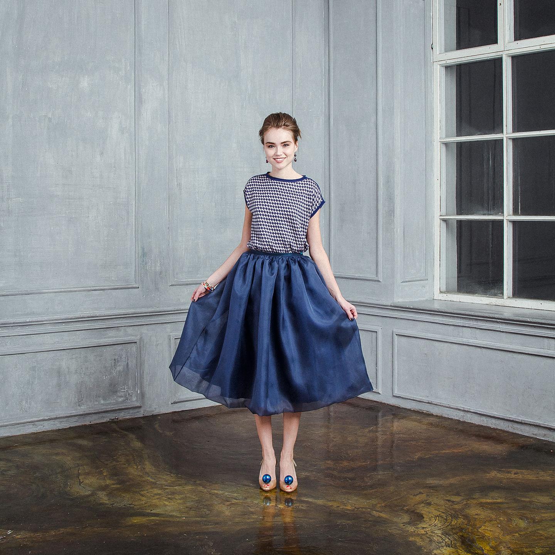 Синяя юбка из органзы
