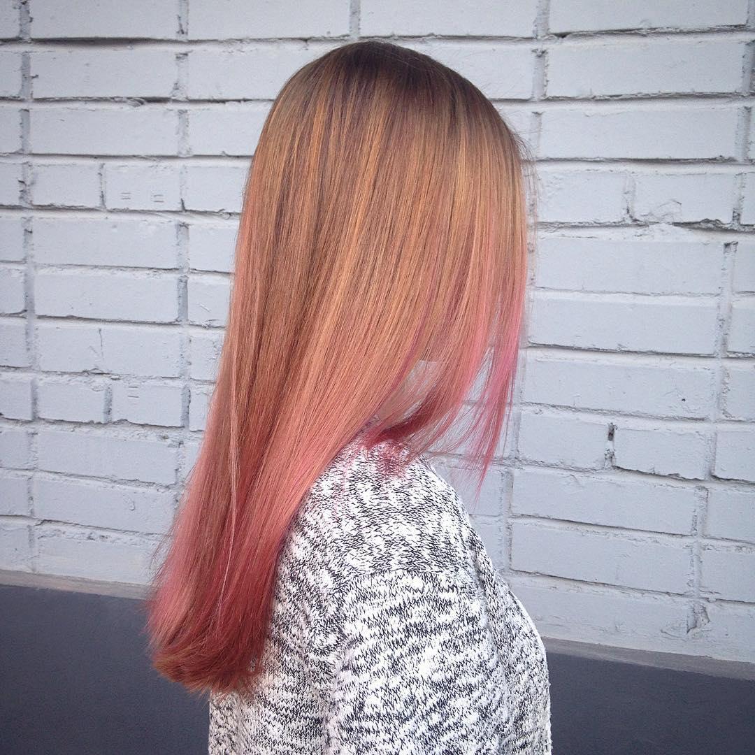 Теплый оттенок розового блонда