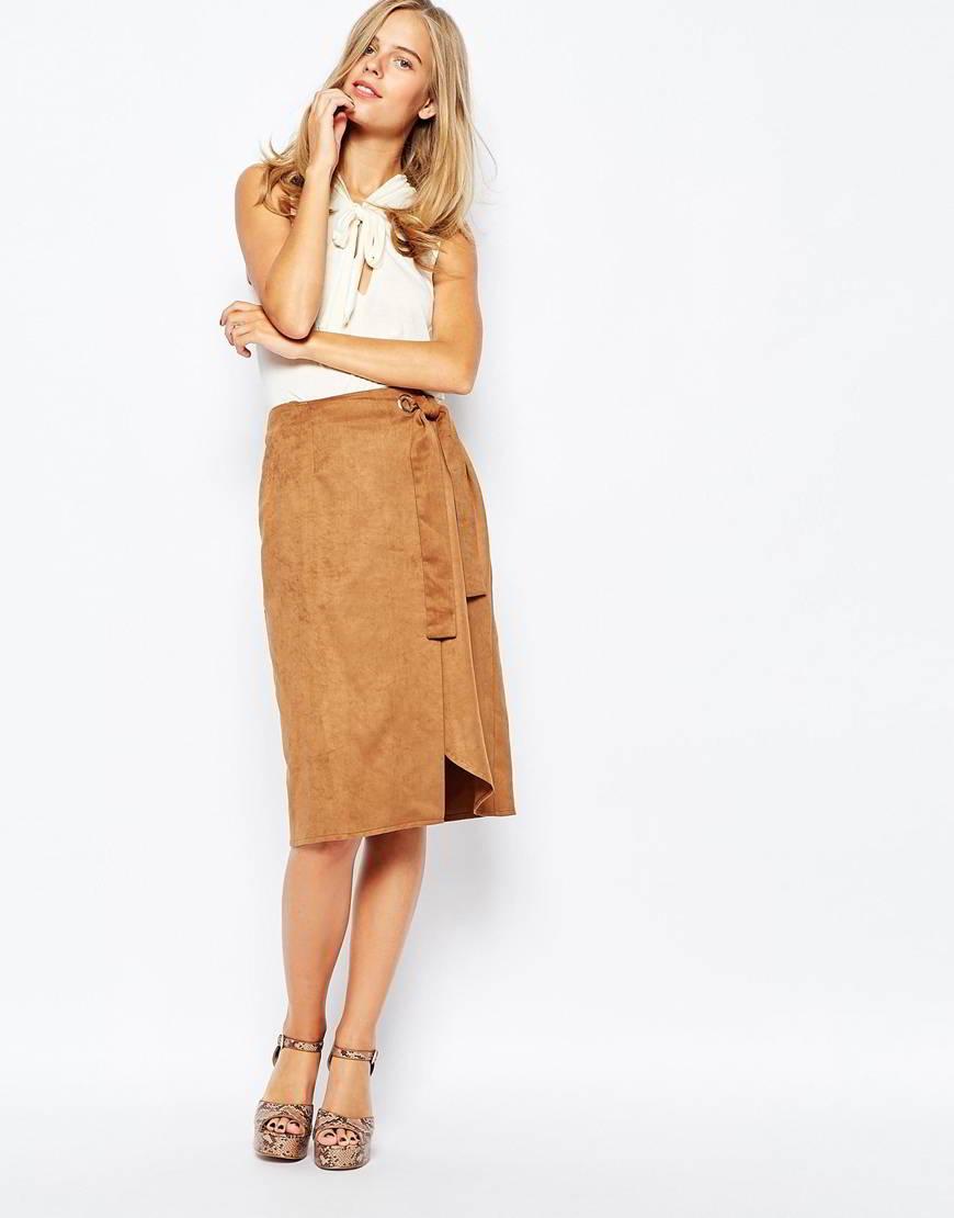 Асимметричная юбка из замши