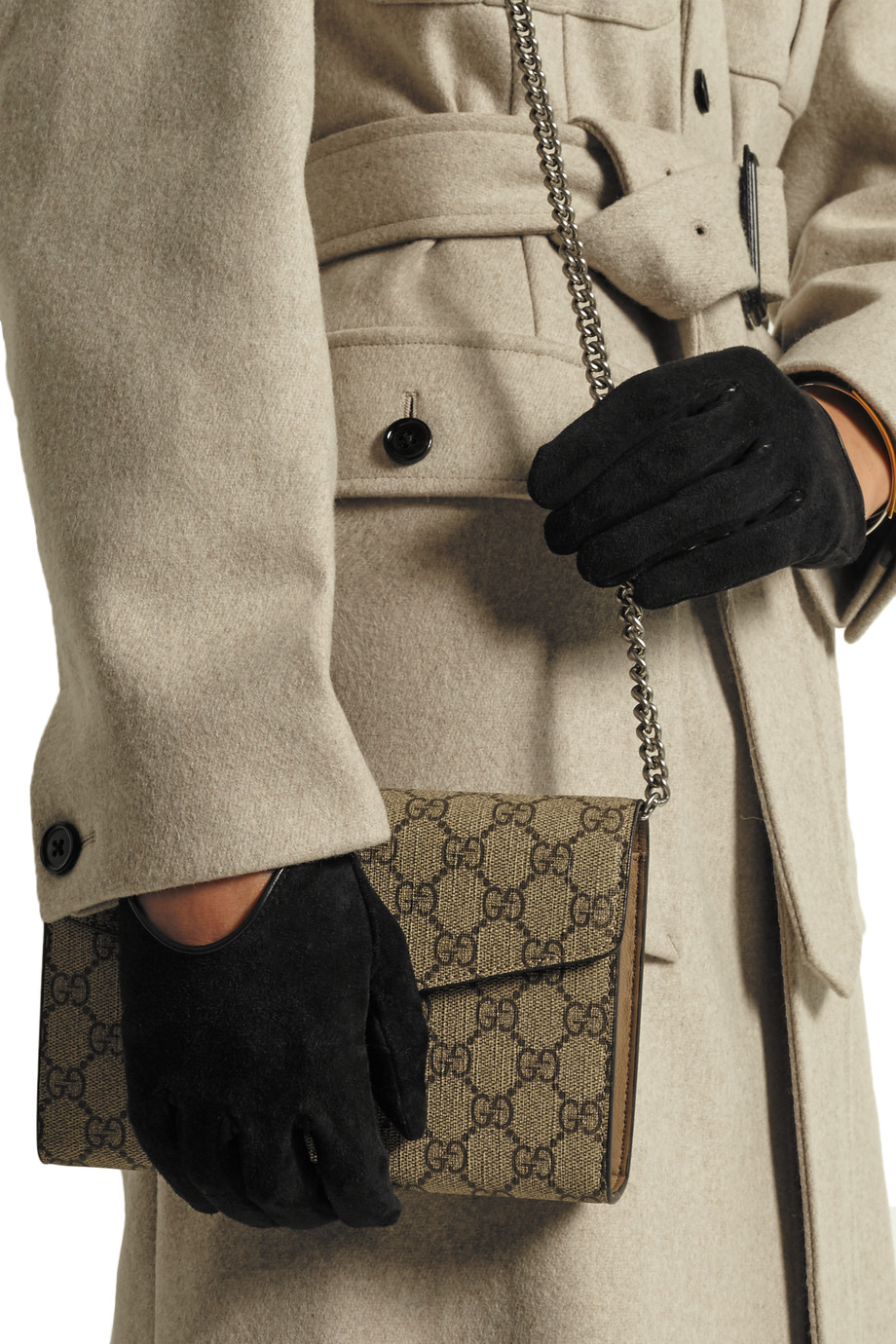 Тонкие замшевые перчатки