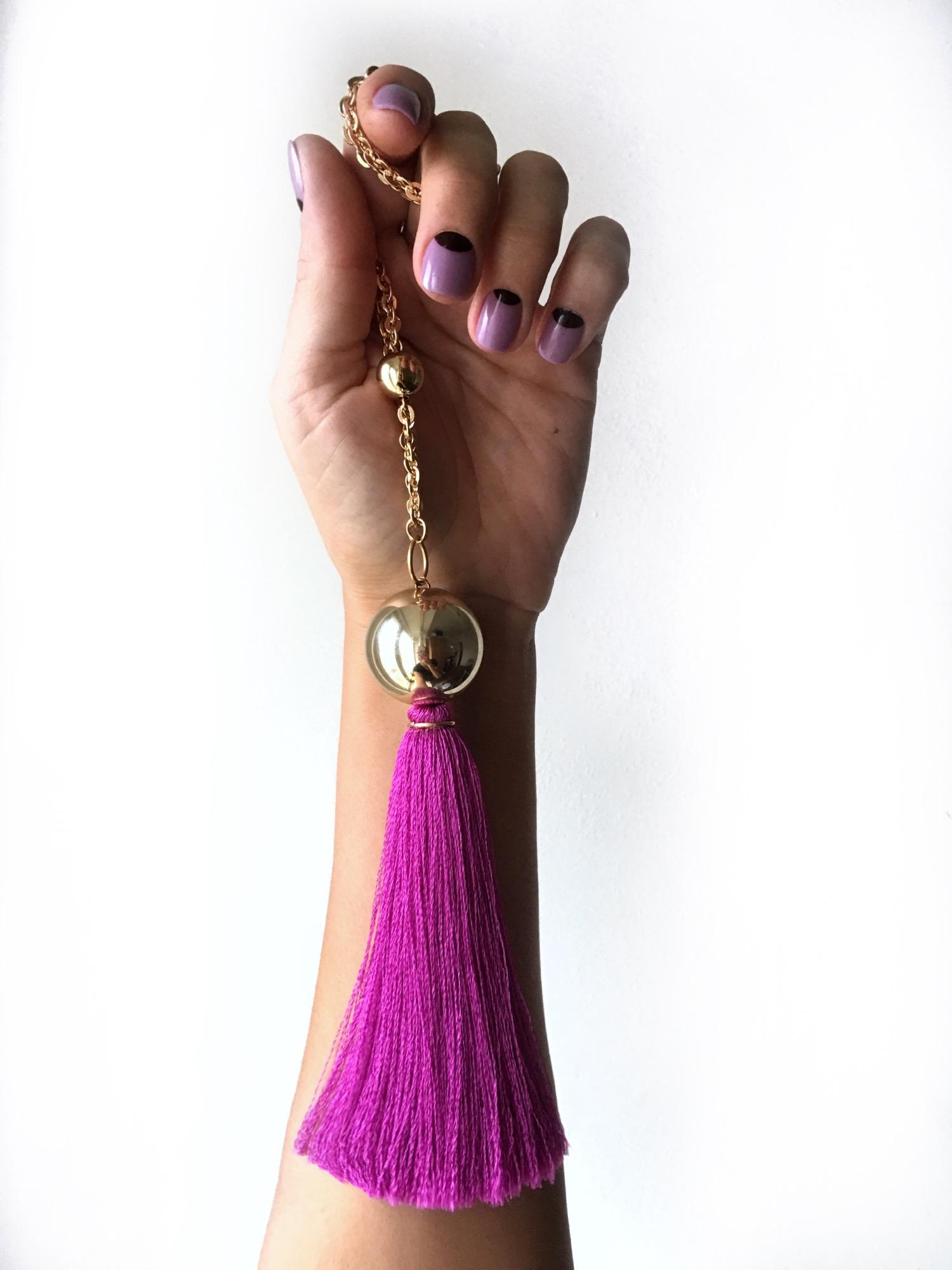 Фиолетовые серьги-кисточки