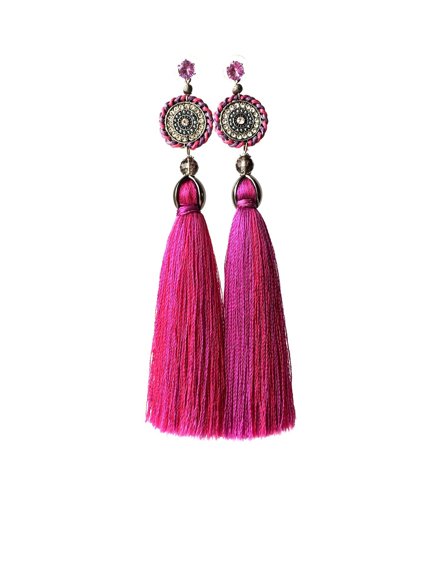 Розовые серьги-кисточки