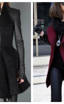 Пальто с кожаными рукавами: особенности и преимущества изделий