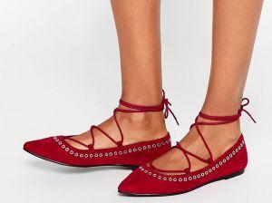 С чем носить красные балетки