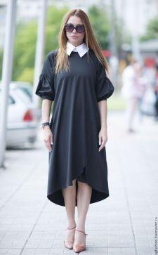 Платье с белым воротником – модный вариант для будней и праздников