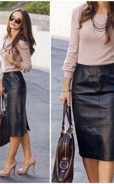Кожаная юбка-карандаш: как создать модные луки