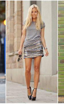 С чем сочетать блестящую юбку карандаш или плиссе