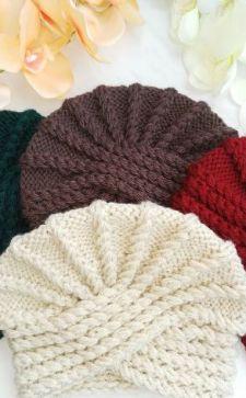 Вязаная шапка-чалма: разновидности и способы вязания