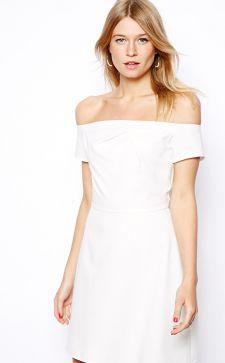Модные платья с голыми плечами — длинные и короткие модели