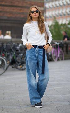 Как носить широкие джинсы: выбираем модель, длину и аксессуары правильно