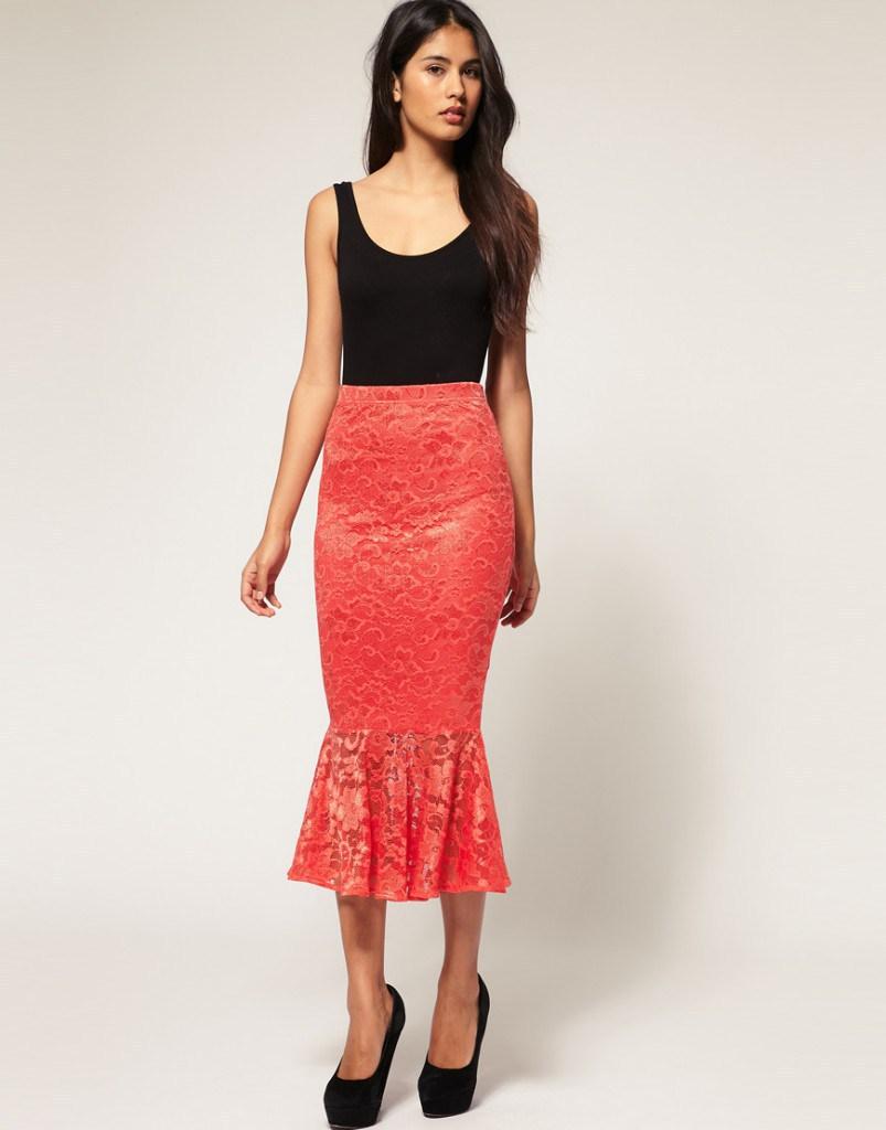 Коралловая юбка годе