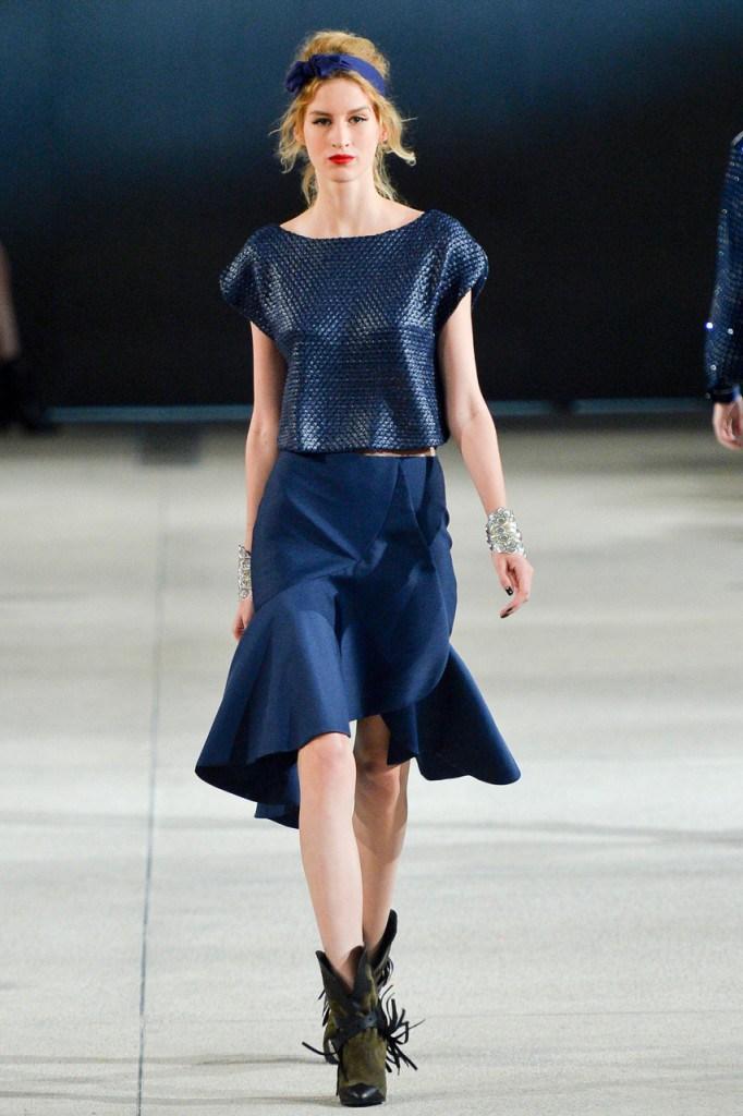 Синяя юбка годе