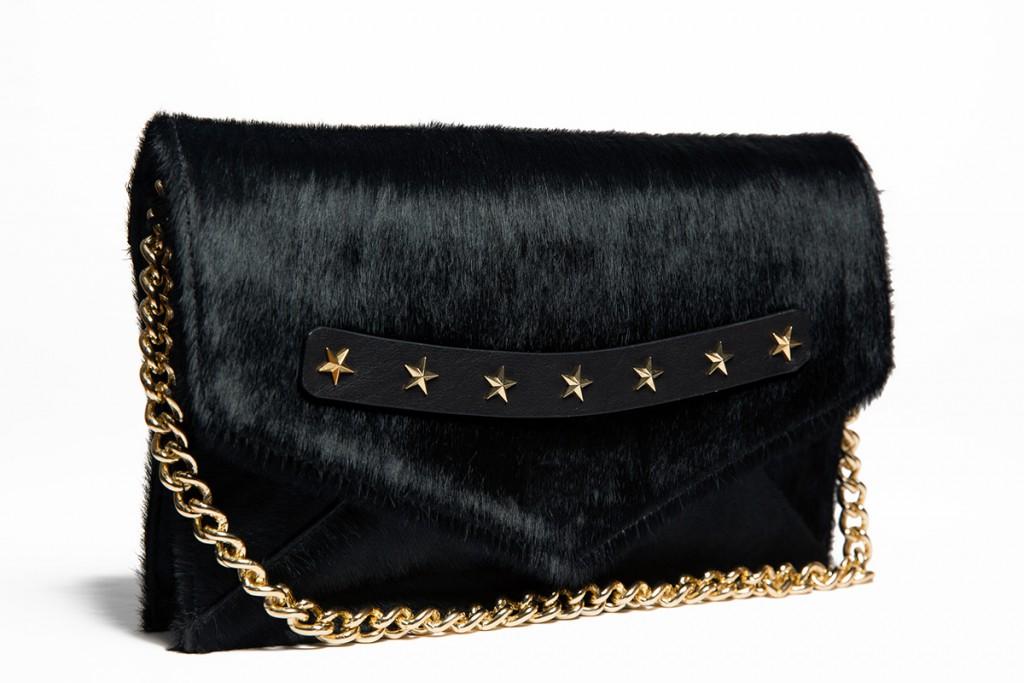 Меховая черная сумка