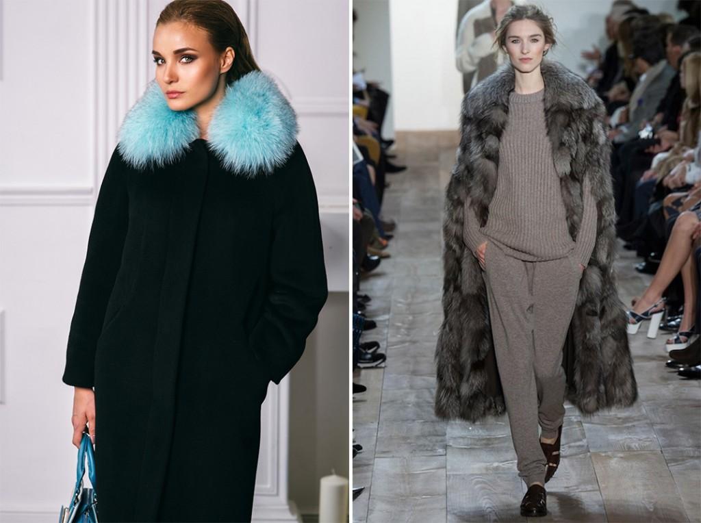 Черное пальто с  мехом