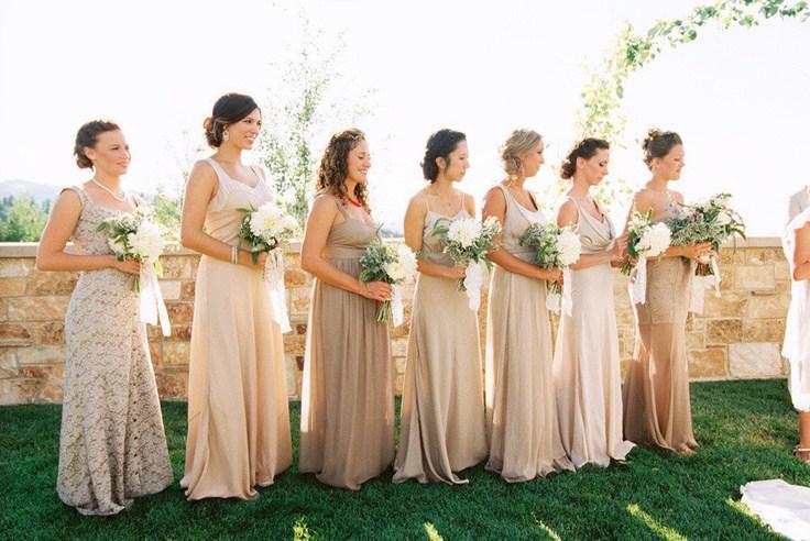 Эффект омбре в платьях подружек невесты