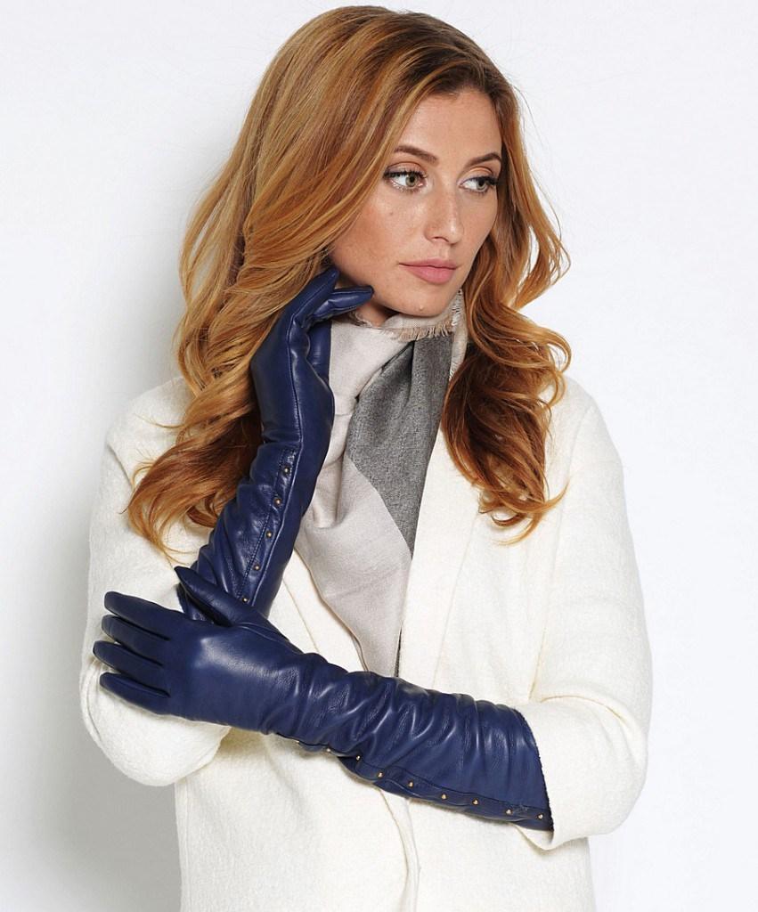 Кожаные синие перчатки до локтя