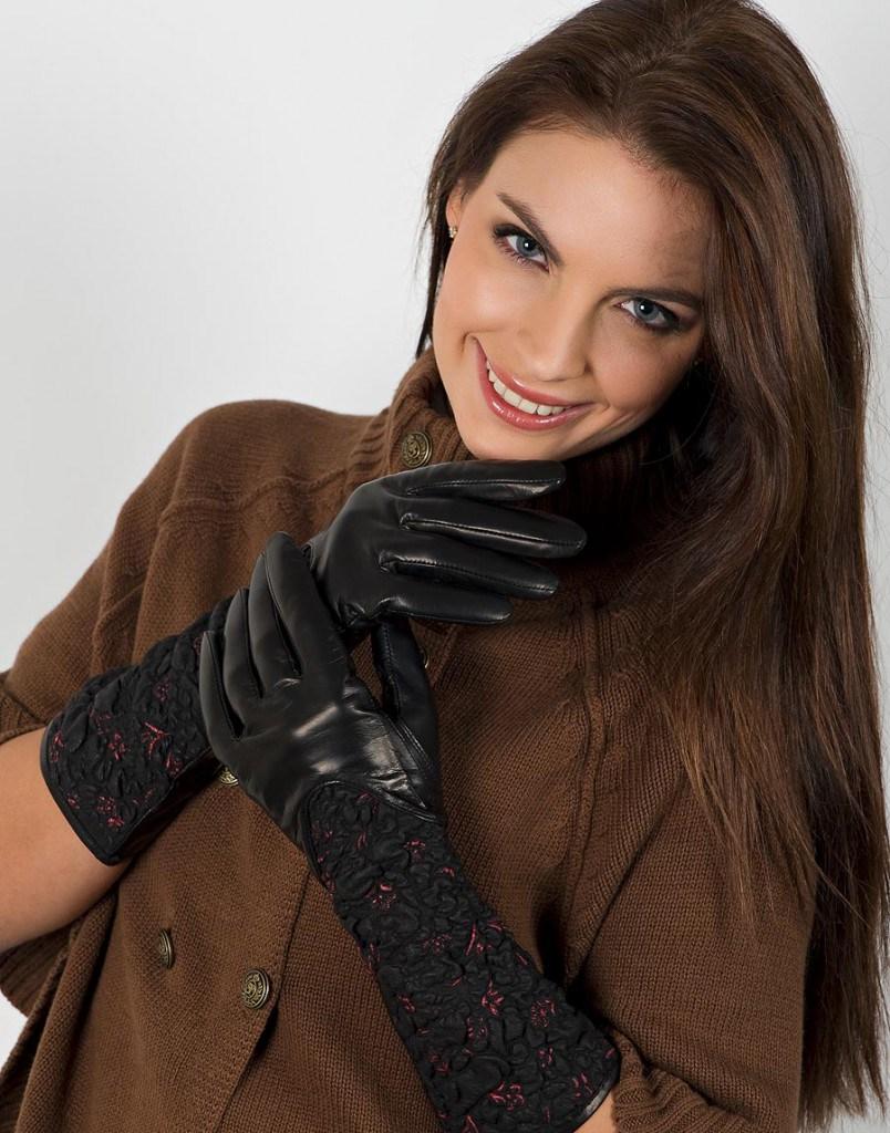 Длинные кожаные перчатки с пальто
