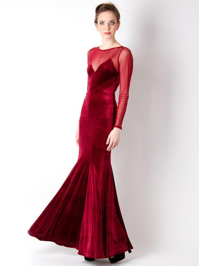 Вечернее красное бархатное платье