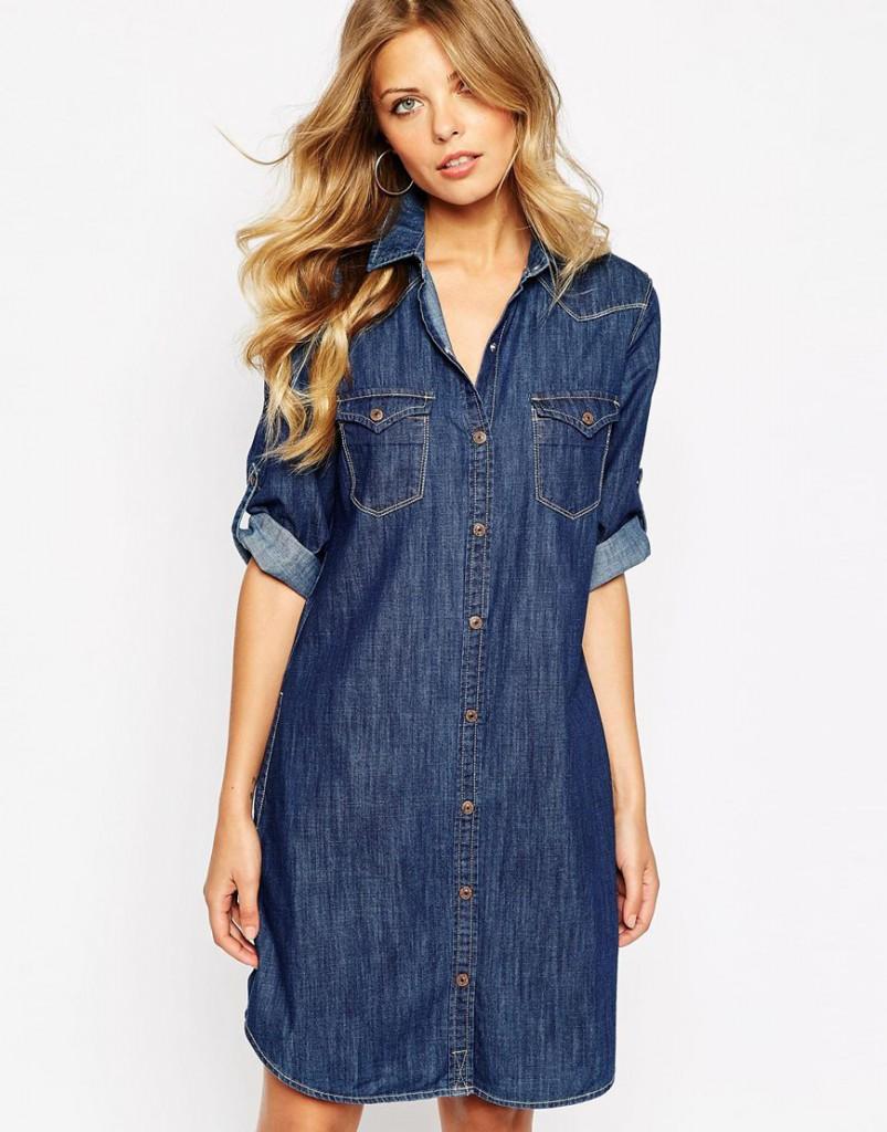 Джинсовое платье-рубашка