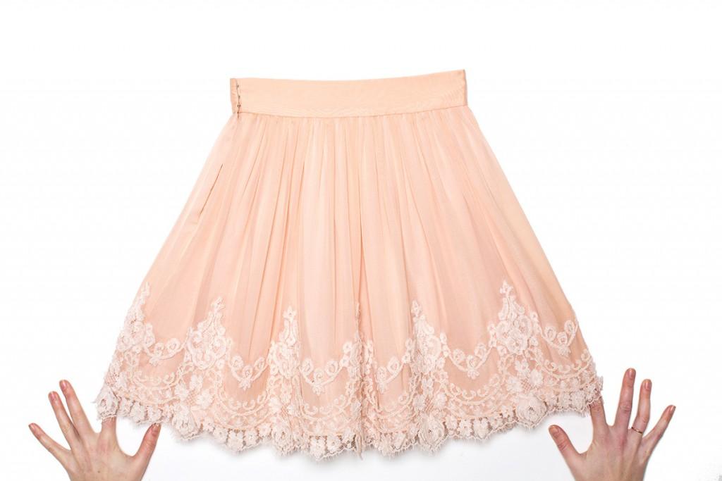 Бежевая фатиновая юбка