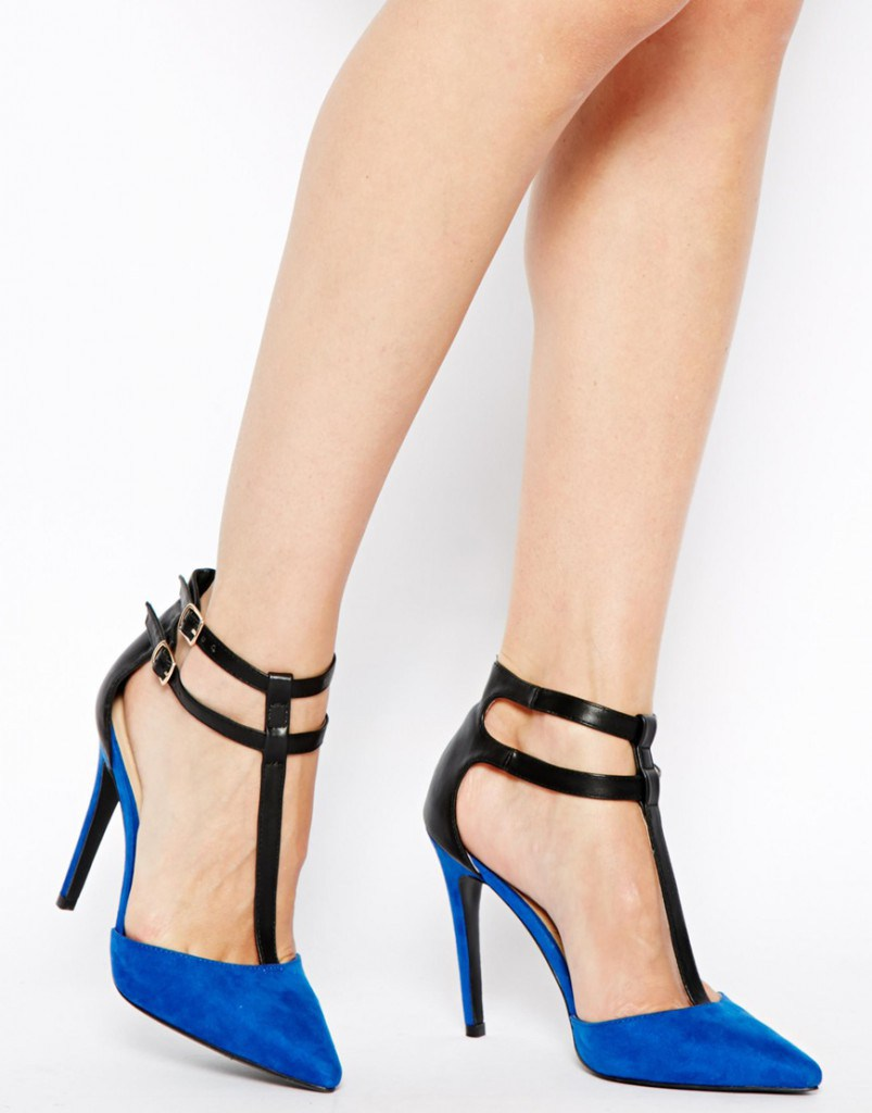 Черно-синие туфли на высоком каблуке