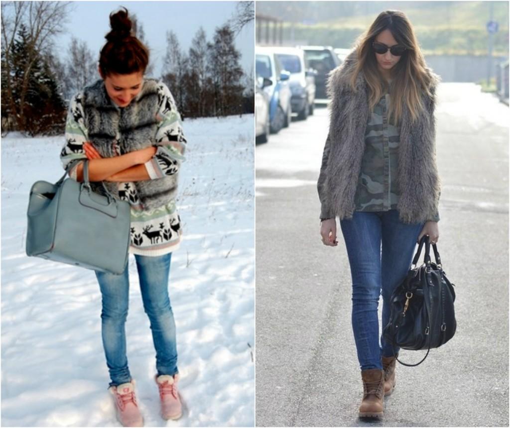 Женские тимберленды с джинсами и жилеткамиЖенские тимберленды с джинсами и жилетками