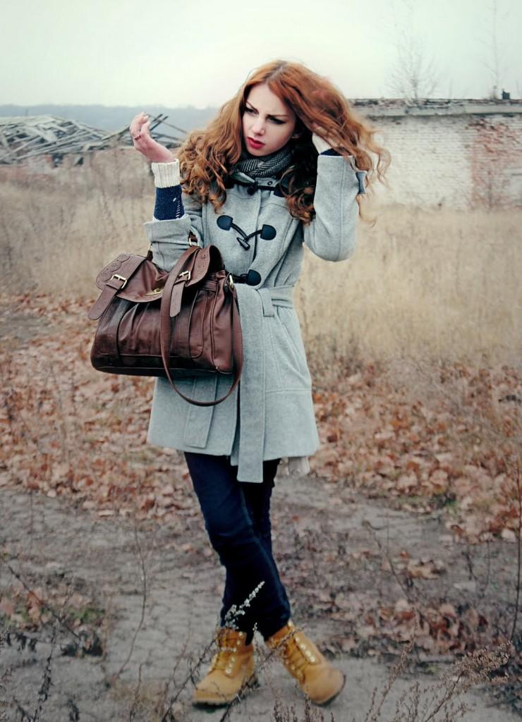 Женские тимберленды с пальто