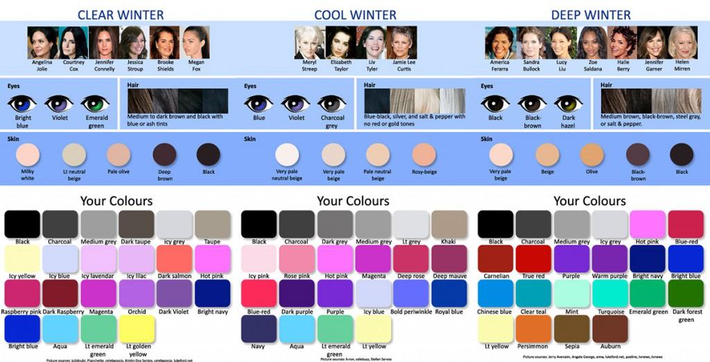 Подходящие оттенки цветотипа зима