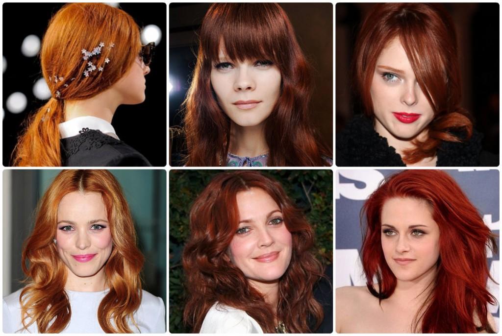 Рыжие и красные оттенки волос