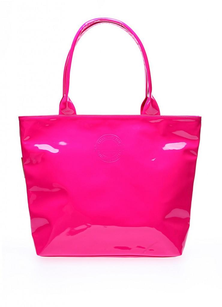 Розовая большая лакированная сумка