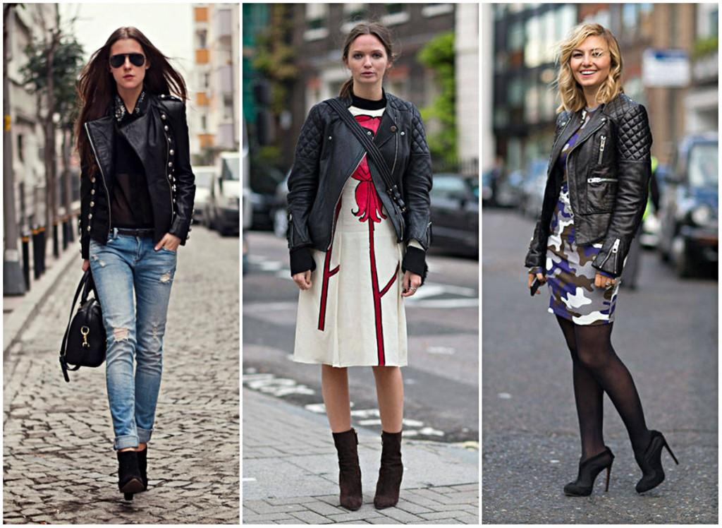 Модные сочетания кожаных курток с одеждой