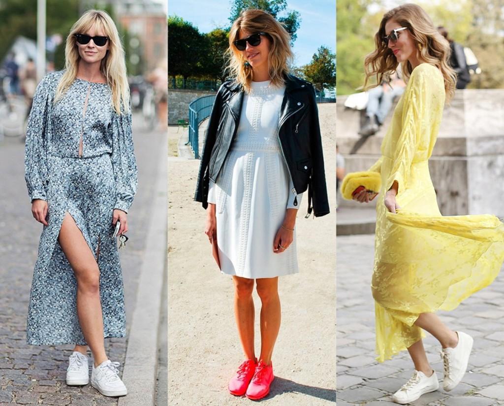 Модные кроссовки с платьями