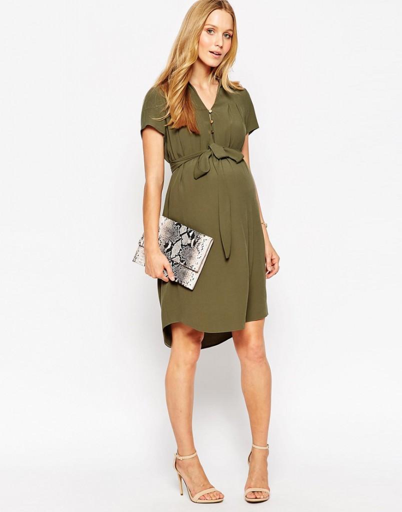 Темно-зеленое платье рубашка для беременных
