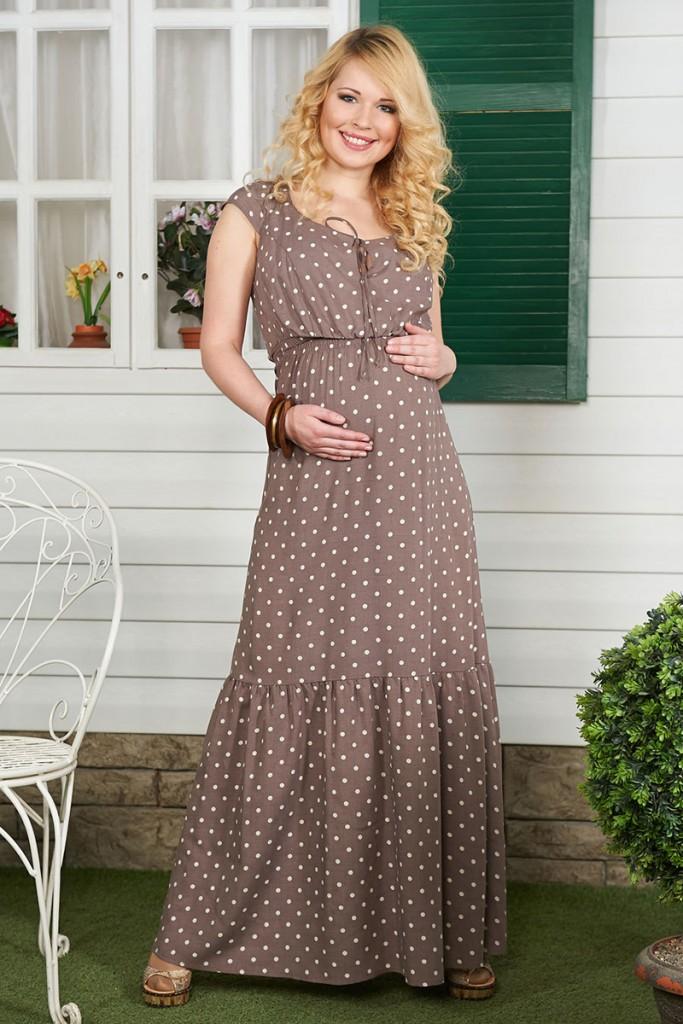 Длинное платье в горошек для беременных