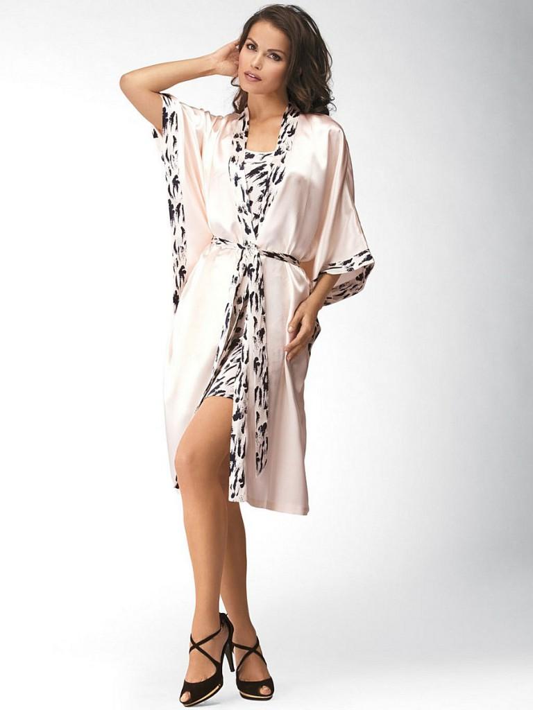 Модный домашний светлый шелковый халат