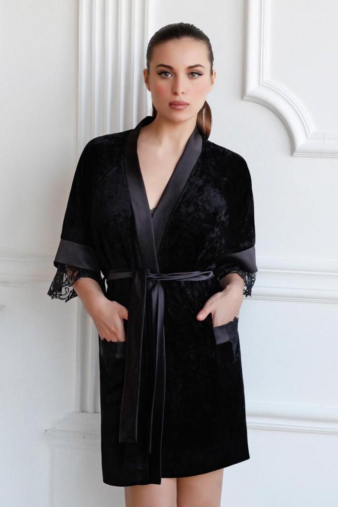 Модный домашний черный халат
