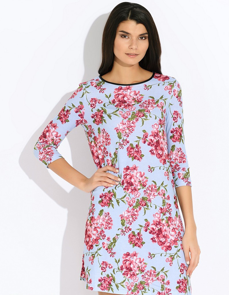 Модное домашнее платье в цветочек