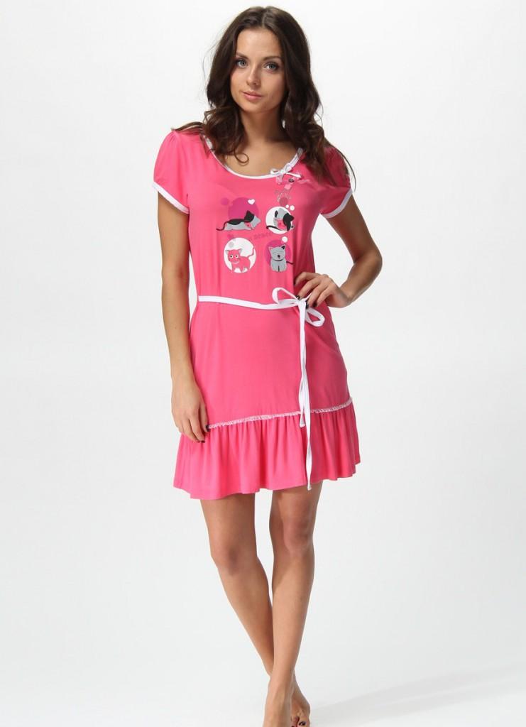 Модное розовое домашнее платье