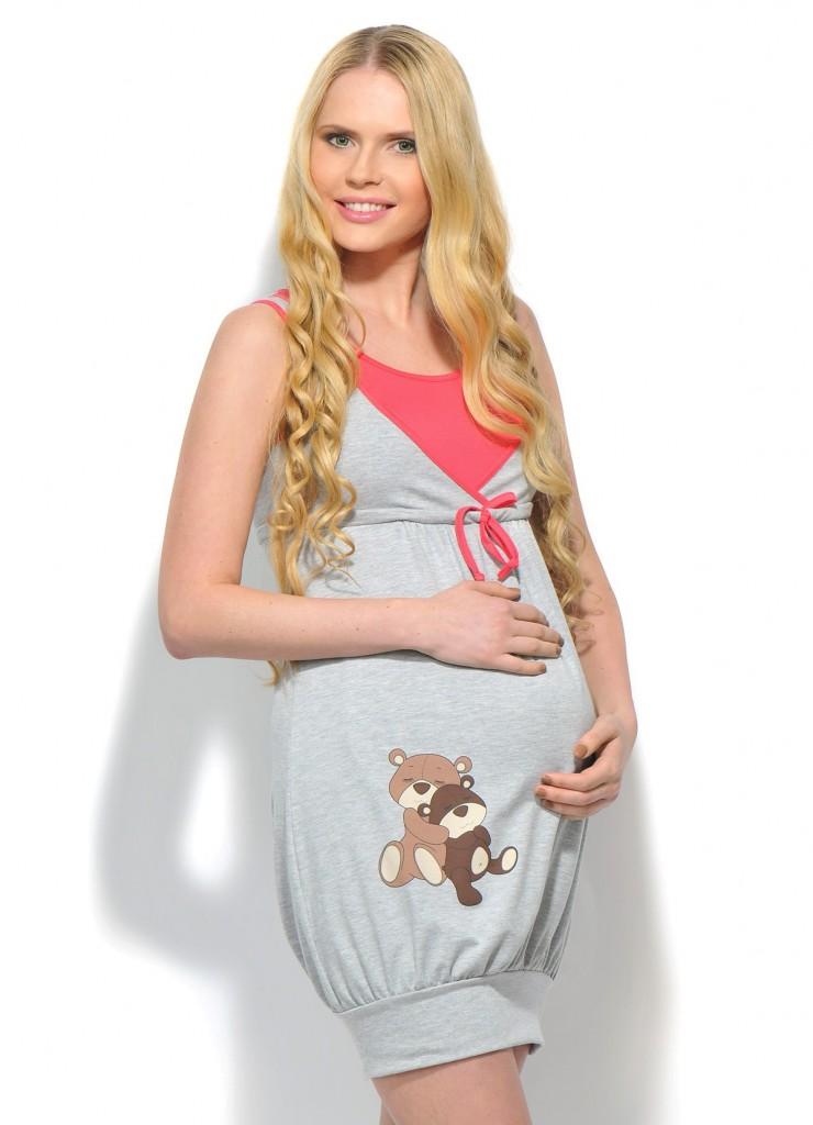 Модное серое домашнее платье для беременных
