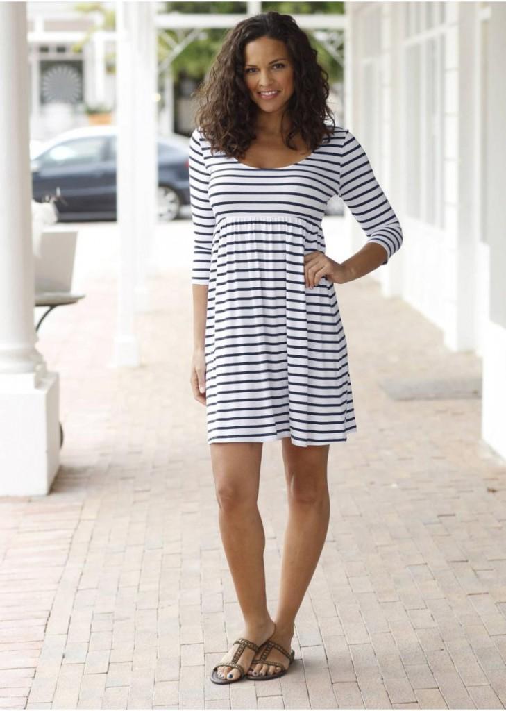 Модное домашнее платье в полоску