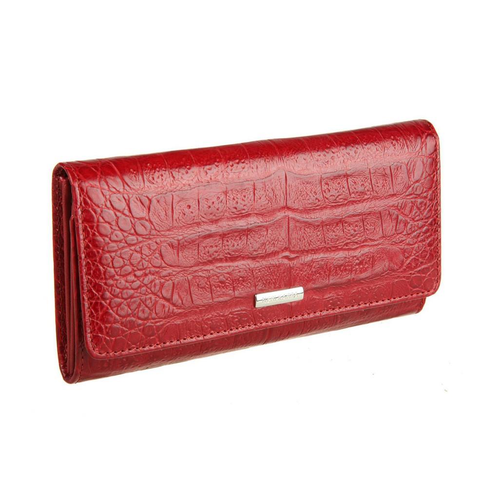 Модный красный кожаный кошелек