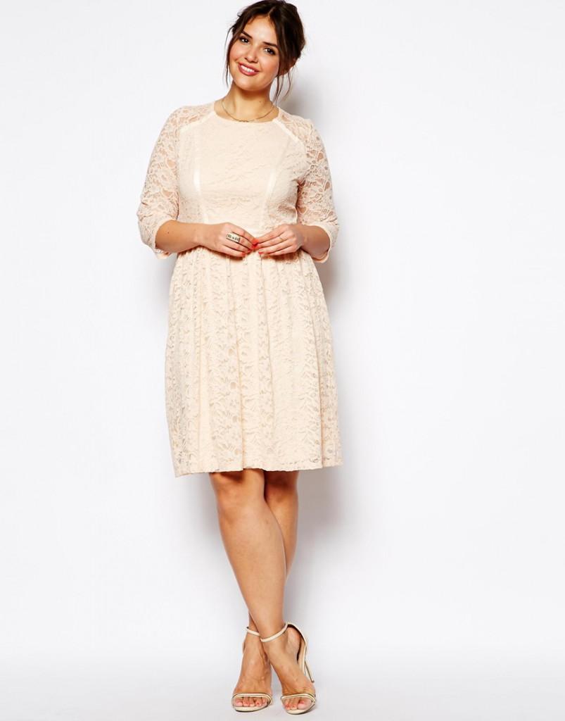 Бежевые гипюровые платья для полных дам