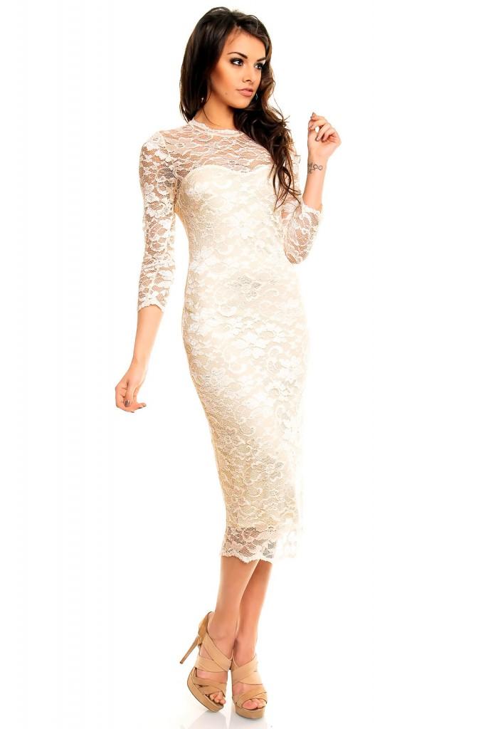 Кружевное платье длиной ниже колен