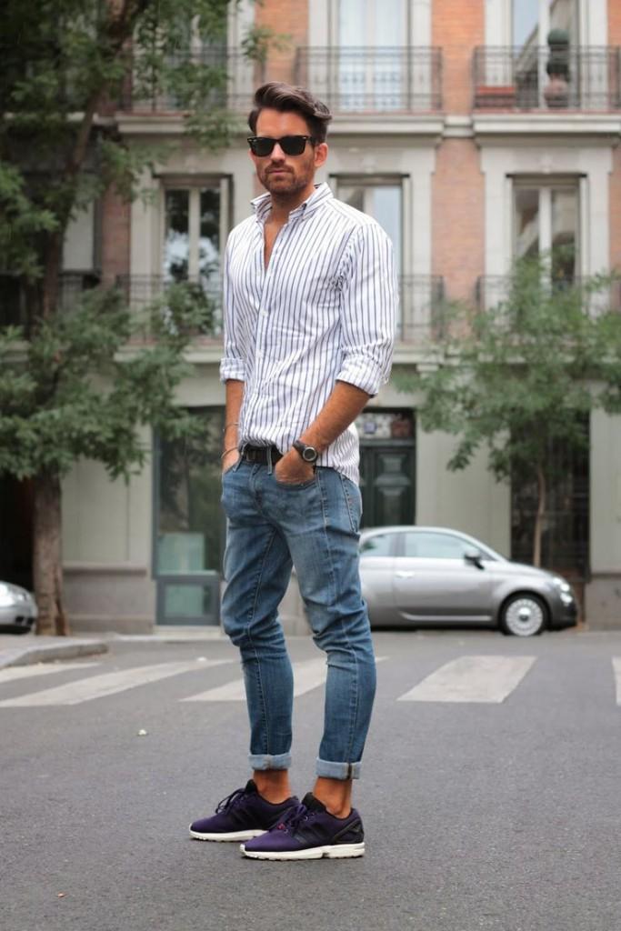 Мужские джинсы с отворотами