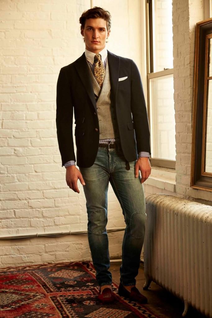 Современные мужские джинсы с мокасинами