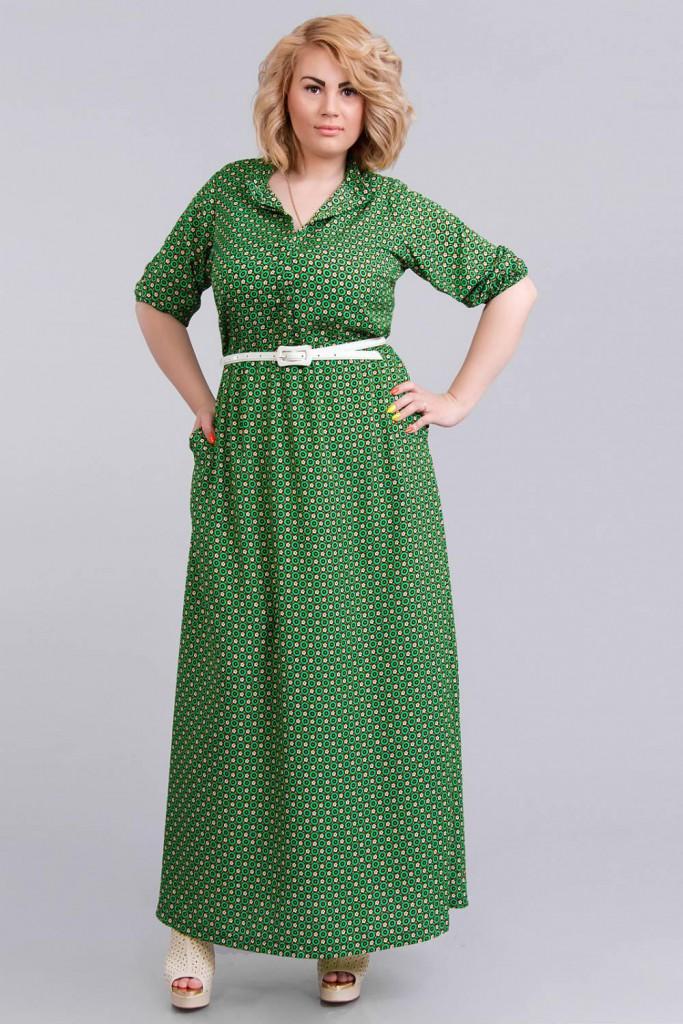 Зеленое платье в мелкий узор для полной женщины