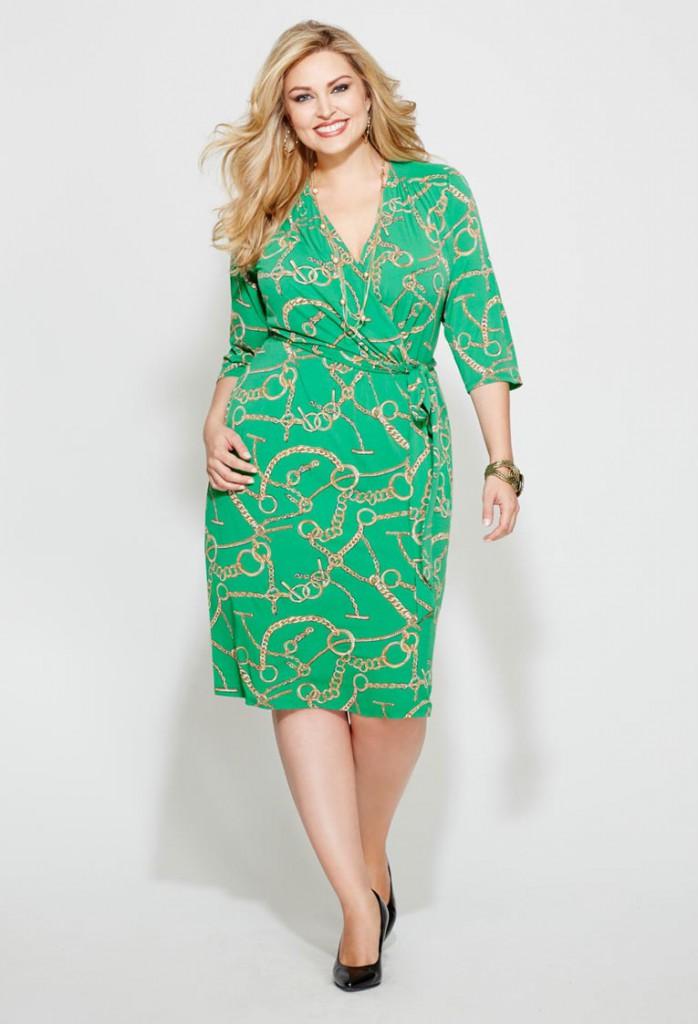 Зеленое платье для полной женщины